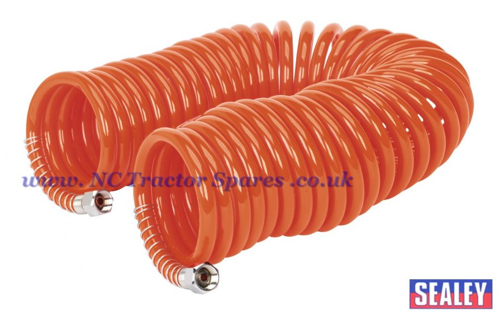"PU Coiled Air Hose 10mtr x 6mm with 1/4""BSP Unions"